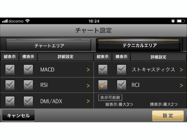 iClickFXneoプラス チャート設定