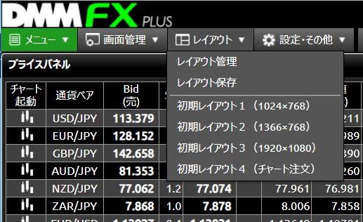 DMMFX PLUS画面