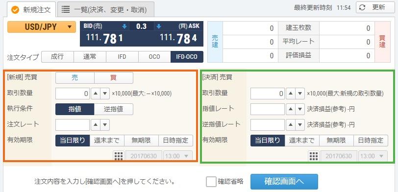 IFDOCO注文画面 GMOクリック証券