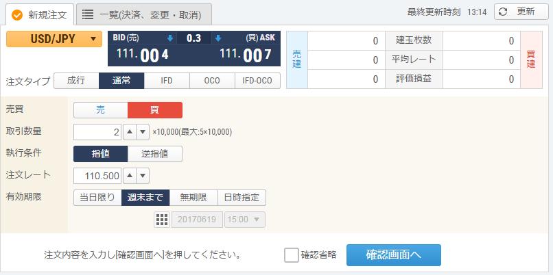 GMOクリック証券FXneo注文画面